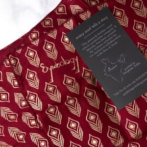 Red Scarf with Gold Feather Pattern [NWT]